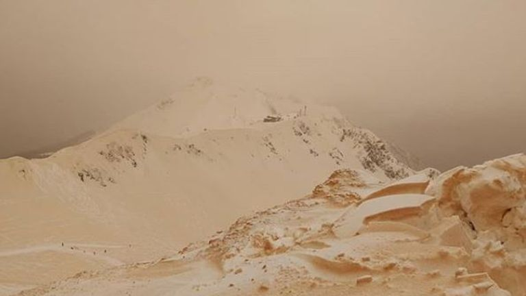 'Orange snow' makes the landscape look eerie at the Rosa Khutor resort. Pic: Instagram/Margarita Alshina