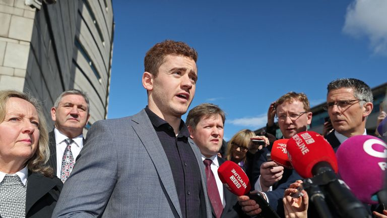 Paddy Jackson speaking outside Belfast Crown Court after being found not guilty