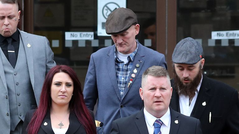Paul Golding (front right) and Jayda Fransen were convicted at Folkestone Magistrates' Court