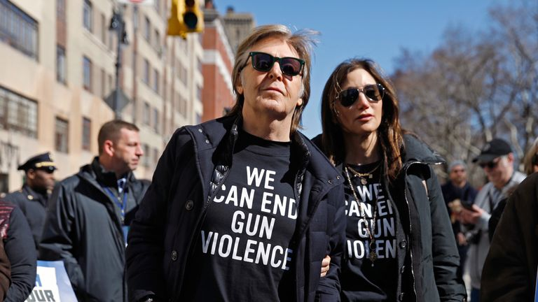 Paul McCartney joined the march in New York City