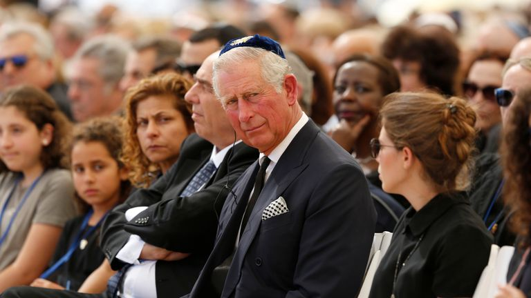 Prince Charles at Shimon Peres' funeral in 2016