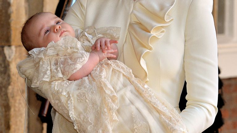 Prince George Of Cambridge after his christening at the Chapel Royal in St James's Palace