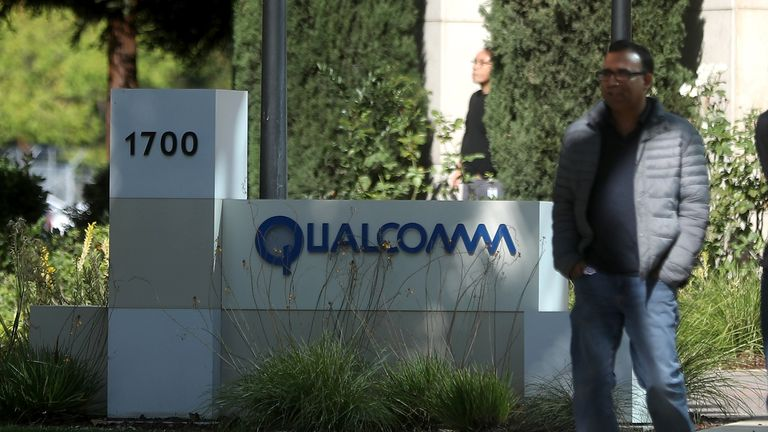 A sign is posted at a Qualcomm office on November 1, 2017 in San Jose, California