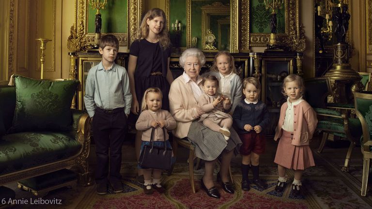 The Queen and her great-grandchildren on her 90th birthday