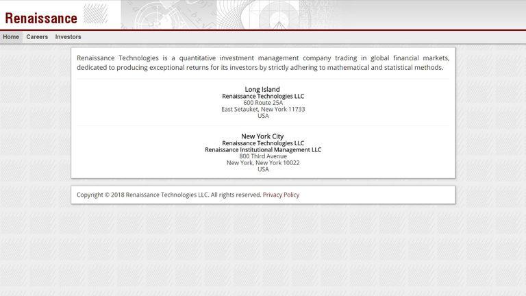 The website of Renaissance Technologies