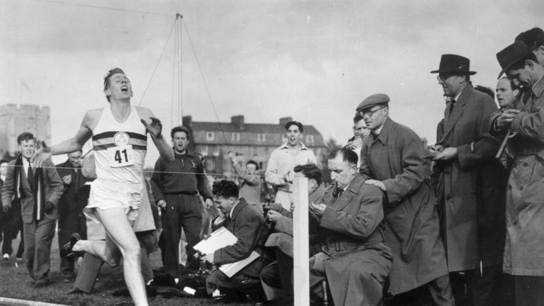 Roger Bannister about to cross the tape at the end of his record breaking mile run at Iffley Road, Oxford, in 1954