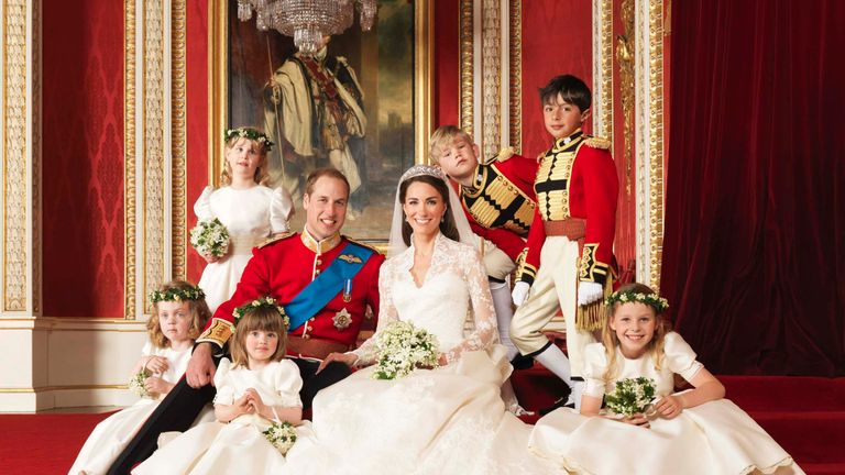 William and Kate with their bridesmaids and pageboys on the day of their wedding