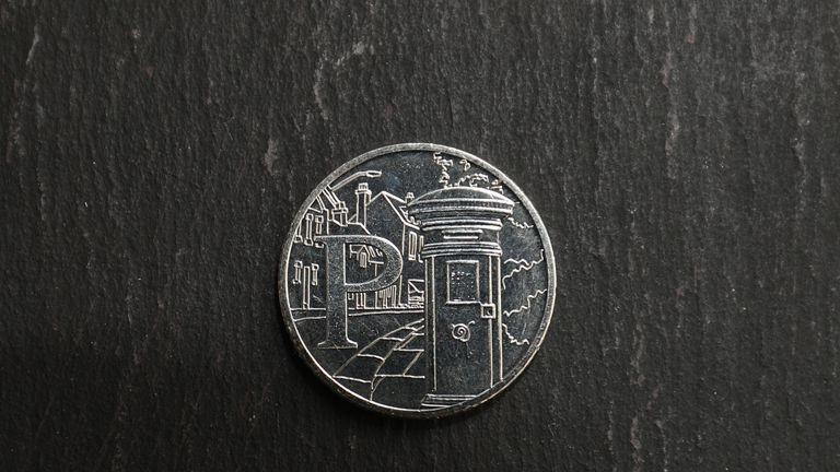 One of the Royal Mint's 26 brand new 10 pence designs, the letter P