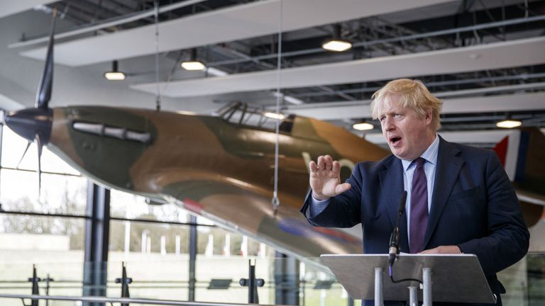 Britain's Foreign Secretary Boris Johnson addresses the media during a visit to a Battle of Britain bunker at RAF Northolt in Uxbridge, Britain, March 16, 2018.