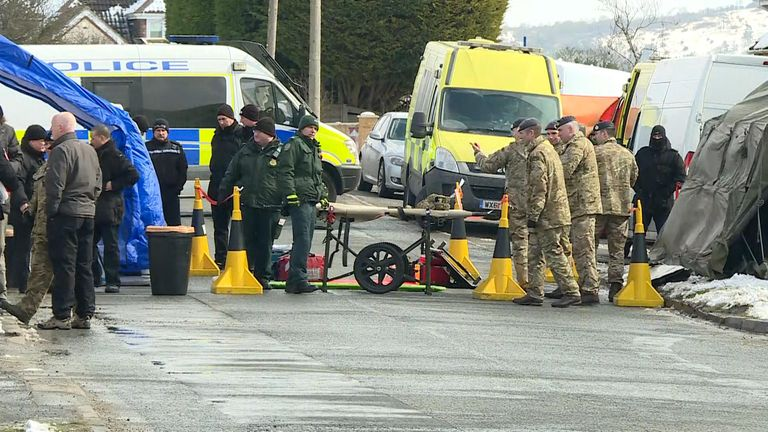 Army personnel, police and firemen were at the scene in Durrington where a car Yulia Skripal used was being taken away