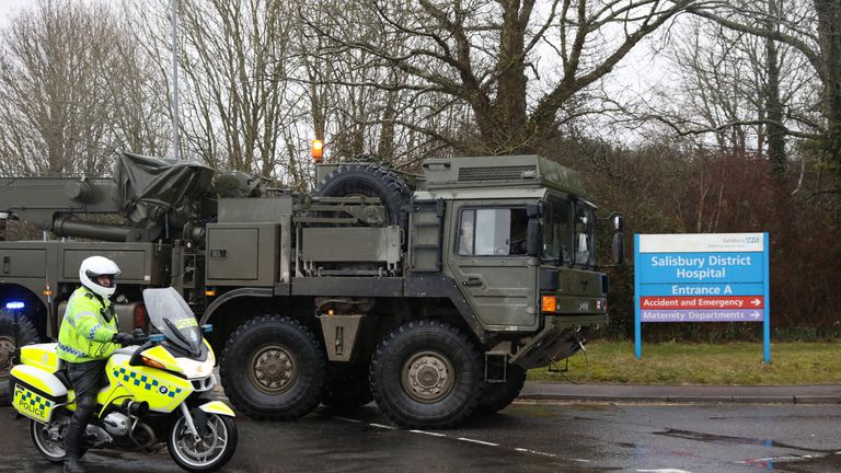 A military truck arrives at Salisbury District Hospital