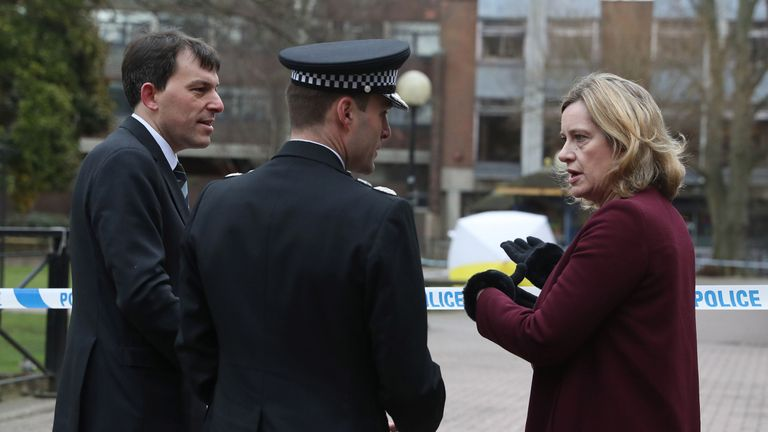 Home Secretary Amber Rudd with Wiltshire Police Assistant Chief Constable Kier Pritchard (centre) and MP for Salisbury and South Wiltshire John Glen
