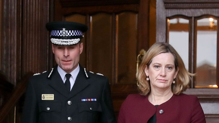 Home Secretary Amber Rudd (right) and Wiltshire Police Assistant Chief Constable Kier Pritchard leave Salisbury Guildhall