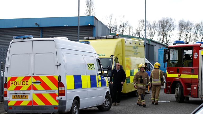 Emergency services attend the scene at a car recovery depot in Norton Enterprise Park, where Sergei Skripal's car was originally transported, in Salisbury