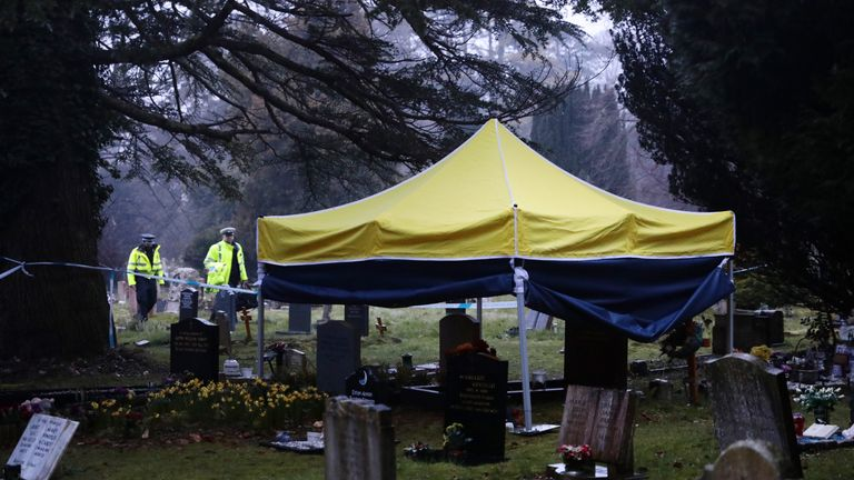A tent was constructed over the memorial for Mr Skripal's son