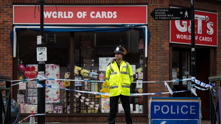 A police officer stands at a cordon in Salisbury