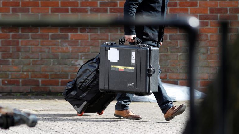 Organisation for the Prohibition of Chemical Weapons (OPCW) inspectors arrive at the scene of the nerve agent attack on Sergei Skripal in Salisbury