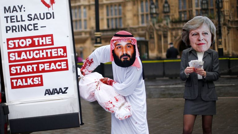 Activists from Avaaz stage a protest timed to coincide with the visit by Saudi Arabia's Crown Prince Mohammad bin Salman outside the Houses of Parliament