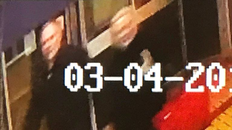 A CCTV image has been released of Sergei Skripal and a woman moments before they fell ill