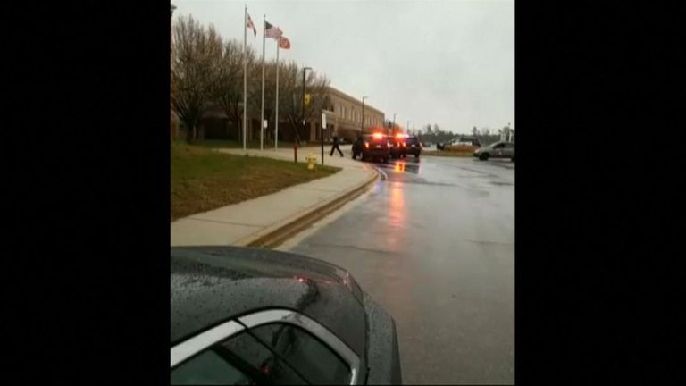 Sheriff county officers attending the shooting at Green Mills High School