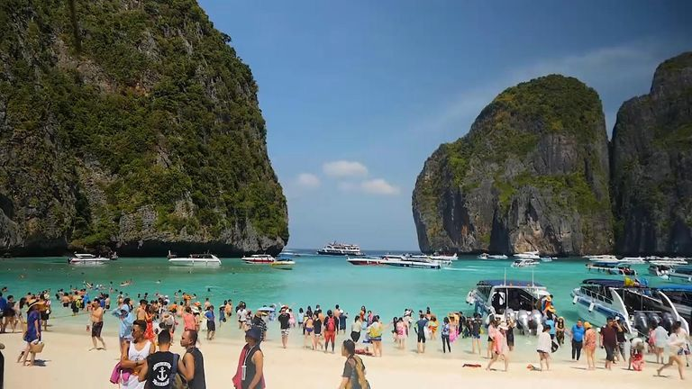 Up to 5000 people a day visit the small stretch of sand on the island of Koh Phi Phi Leh