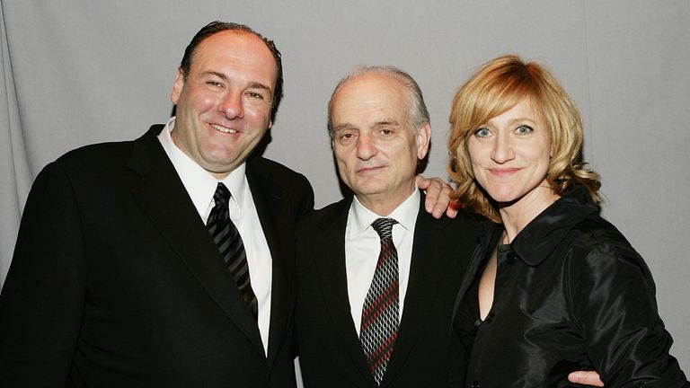 Series creator David Chase (C), with leading actors James Gandolfini and Edie Falco in 2007