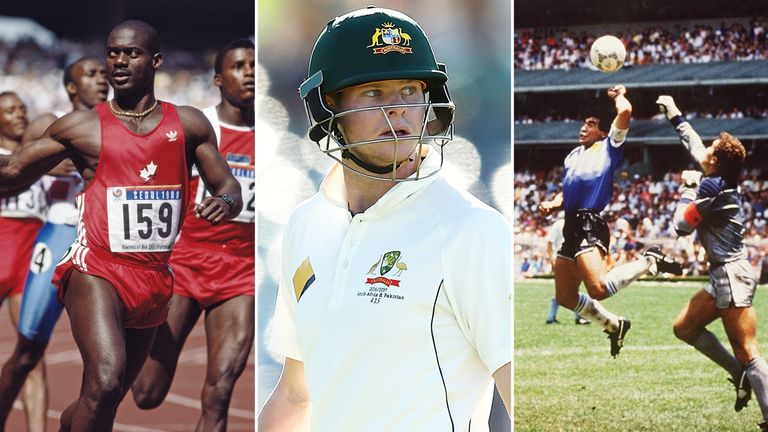 Sprinter Ben Johnson - disqualified, cricketer Steve Smith - being investigated, and Maradona's 'Hand of God'