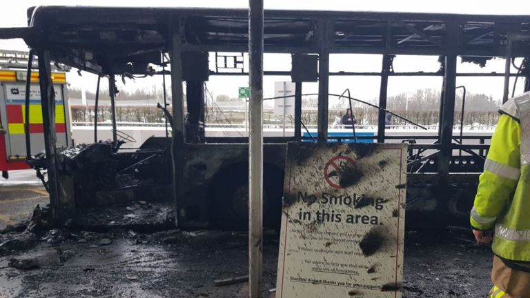 The bus fire prompted an evacuation of the airport. Credit: @DareMe_UK
