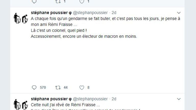 'One more Macron voter': Mr Poussier has been arrested after this tweet surfaced