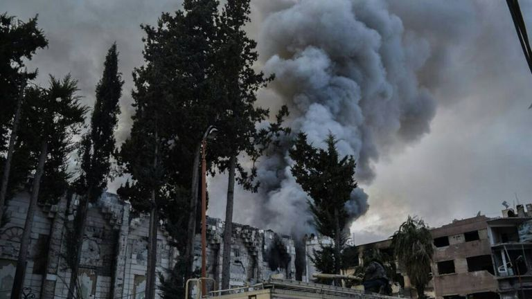 Smoke plume over Douma in Eastern Ghouta, Syria. Credit: Save The Children/Syria Relief