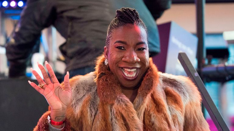 Social activist Tarana Burke, creator of 'Me Too,' takes part in New Year's Eve celebrations in Times Square on December 31, 2017 in New York. / AFP PHOTO / DON EMMERT (Photo credit should read DON EMMERT/AFP/Getty Images)