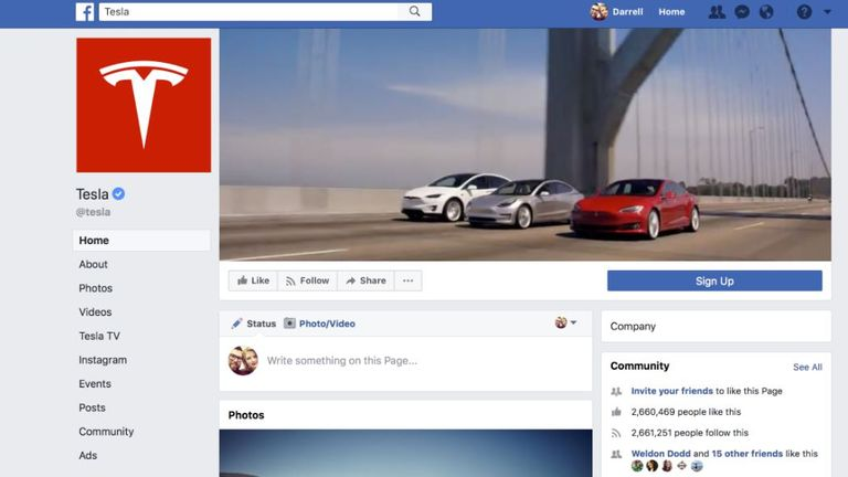 The Tesla page had more than 2.6m likes before it was taken down