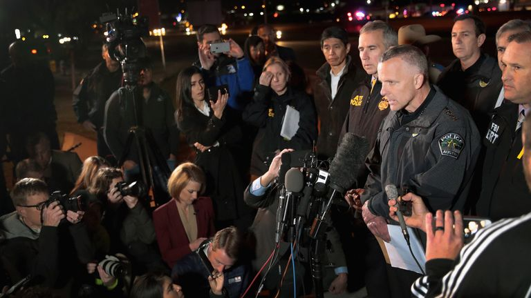 Austin Police chief Brian Manley address the media in Round Rock