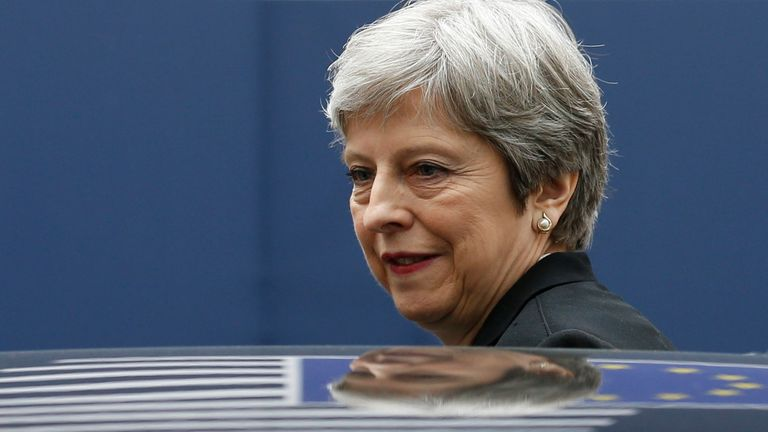 Theresa May attends a European Union leaders summit in Brussels