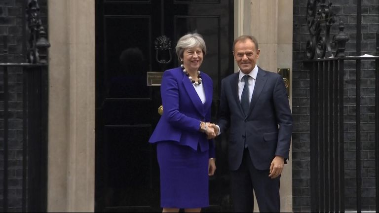 Theresa May welcomes Donald Tusk in Downing Street on March 1 2018