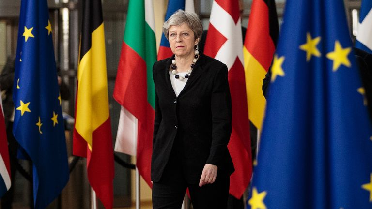 BRUSSELS, BELGIUM - MARCH 23: British Prime Minster Theresa May arrives at the Council of the European Union on the final day of the European Council leaders' summit on March 23, 2018 in Brussels, Belgium.