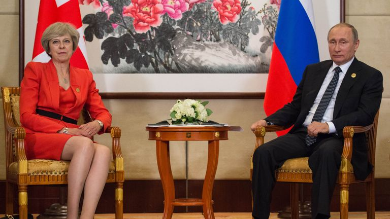 Prime Minister Theresa May holds a news conference with Russian President Vladimir Putin before the start of the G20 Summit today in Hangzhou, China, in 2016