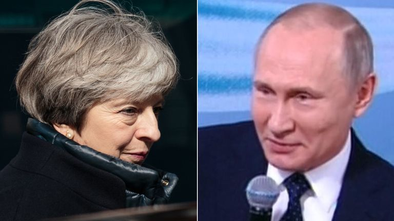 Theresa May and Vladimir Putin