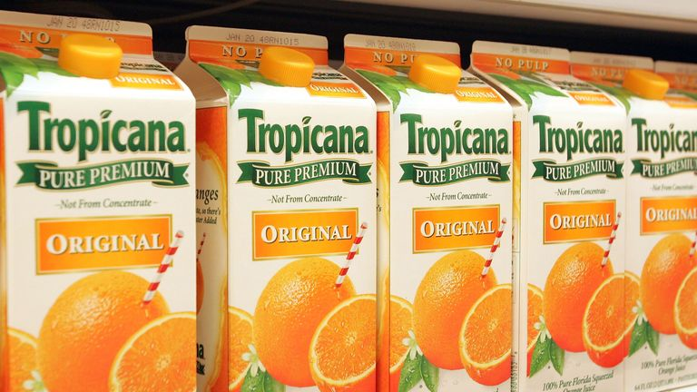 DECEMBER 1: Cartons of Tropicana orange juice lie in a grocery store display December 1, 2004 in Niles, Illinois.