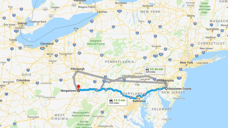 Kenny Bachman ordered an Uber but apparently put the wrong destination into his phone - his trip was 300-miles-long. Pic: Google Maps