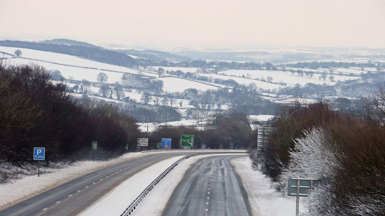 The A30, near Okehampton in Devon