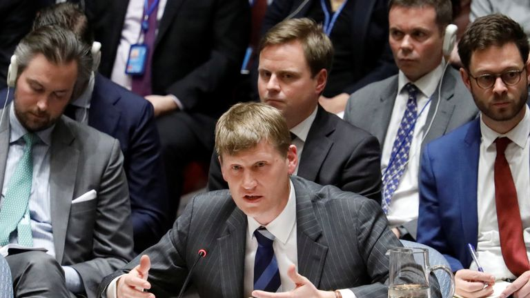 Britain's Deputy U.N. Ambassador Jonathan Allen speaks during a urgent meeting called by Great Britain to the United Nations Security Council to brief members on former spy poisoning at U.N. headquarters in New York, U.S., March 14, 2018.