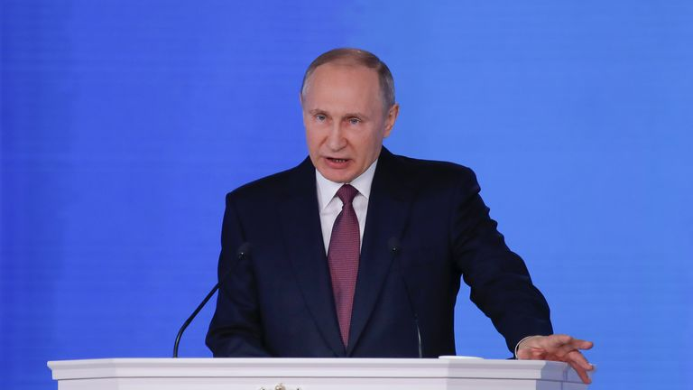 Russian President Vladimir Putin gives a state-of-the-nation speech