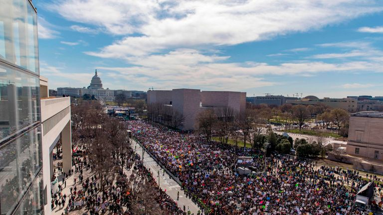 The crowd at the March for Our Lives Rally as seen from the roof of the Newseum in Washington, DC