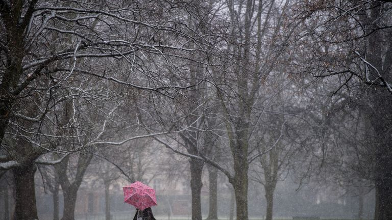LONDON, ENGLAND - MARCH 17: A man runs as snow falls in Kensington Gardens, Hyde Park during a weather front that has been dubbed the mini beast from the east on March 17, 2018 in London, England. The Met Office has issued amber weather warnings for the South East of England and the Midlands as cold weather blows in from the east bringing snow, ice and temporary blizzard conditions. (Photo by Chris J Ratcliffe/Getty Images)