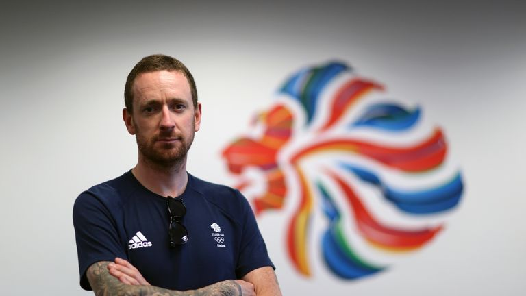 Sir Bradley Wiggins poses for a photo in the BOA offices at he Olympic Park on the eighth day of the Rio Olympics Games, Brazil
