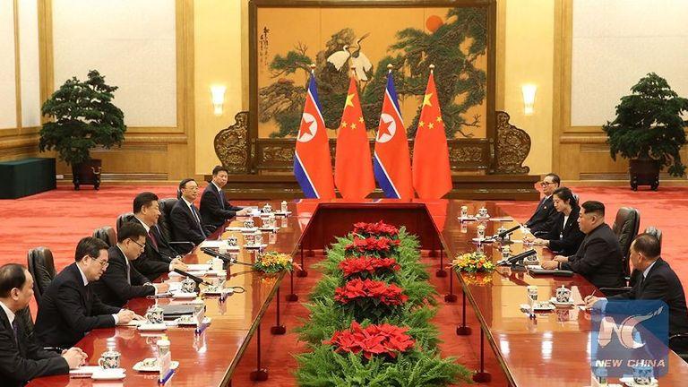 Xi Jinping and Kim Jong Un hold talks in Beijing. Pic: China Xinhua News