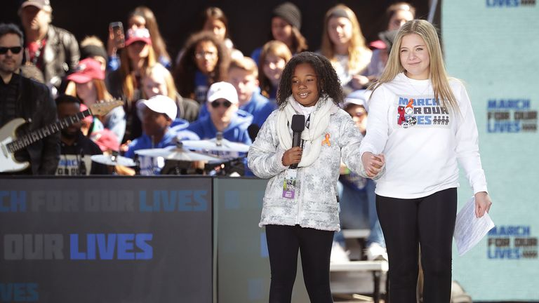 Yolanda King addresses the March for Our Lives rally on   in Washington, DC.