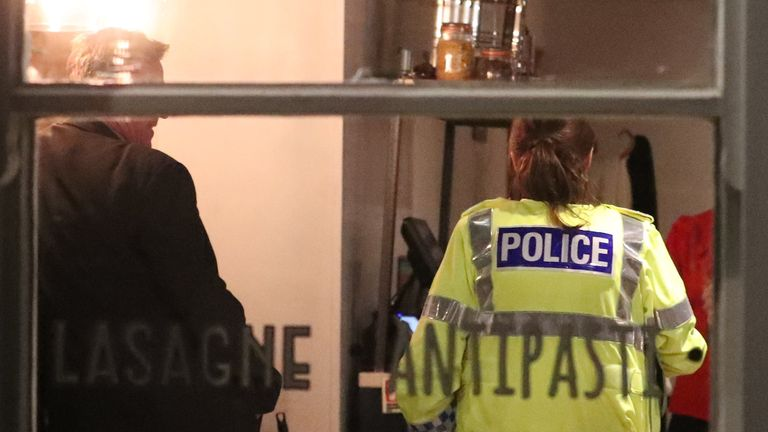 Police at the Zizzi restuarant in Salisbury