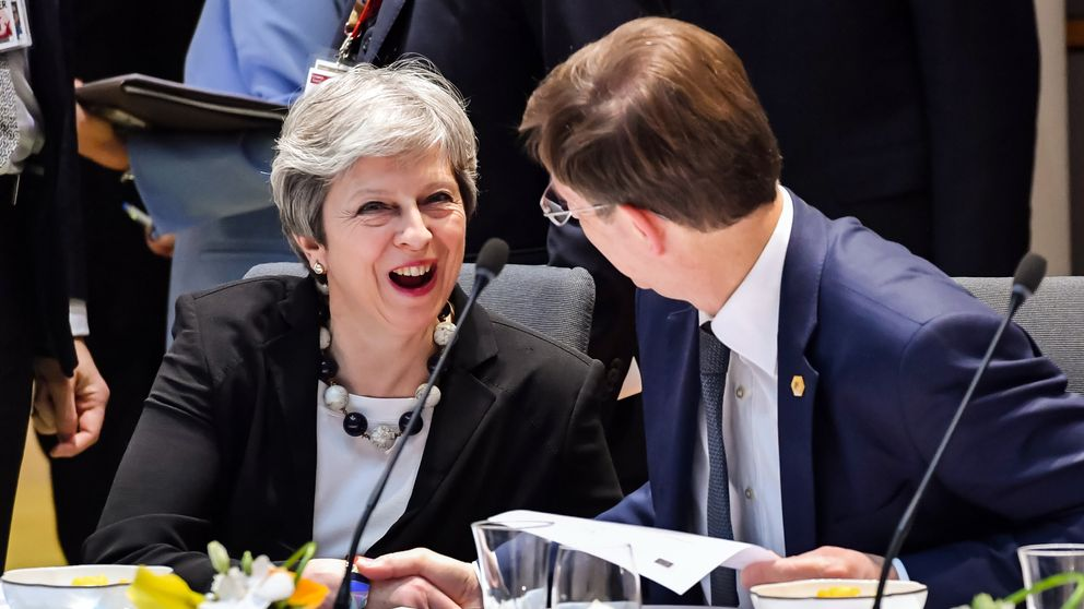 Mrs May shares a laugh with Slovenia's Prime Minister Miro Cerar